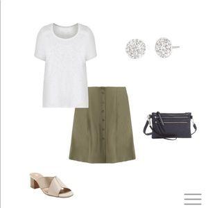 Westport olive green button midi skirt